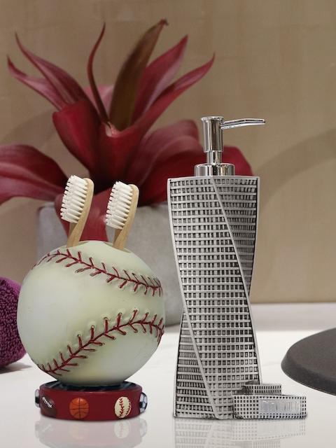 Shresmo Set of 2 Grey & Off-White Textured Bathroom Accessories