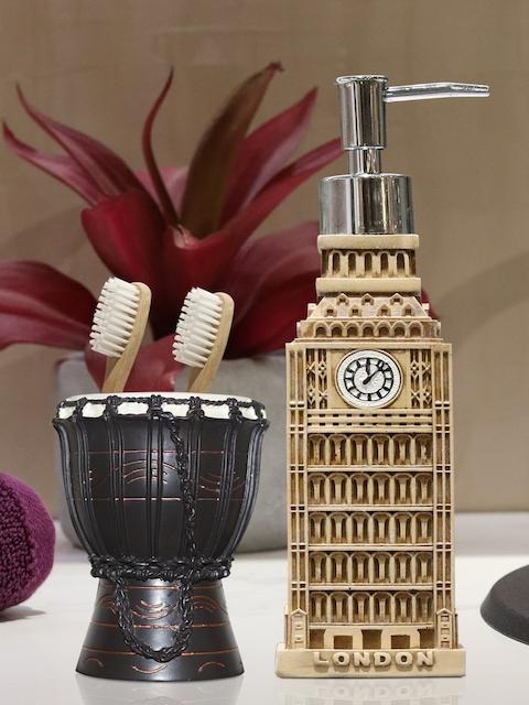 Shresmo Set of 2 Brown & Beige Textured Bathroom Accessories