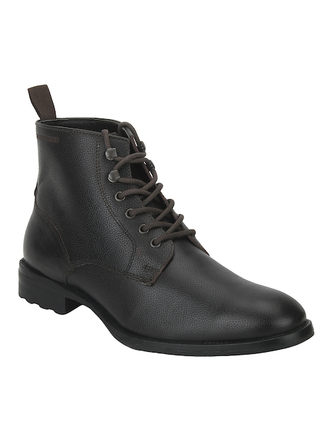 Red Tape Men Dark Brown Solid Leather Mid-Top Flat Boots