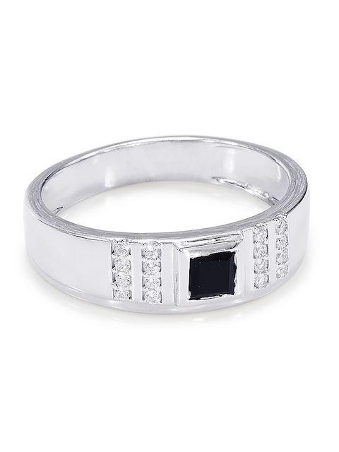 Peora Men Silver-Plated Stone-Studded Ring