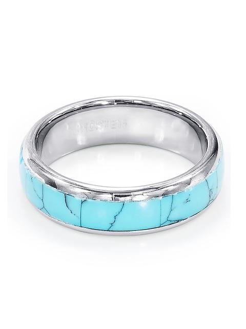 Peora Men Silver-Toned & Turquoise Blue Ring