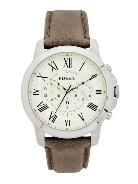 Fossil Men Cream-Coloured Dial Watch FS4735