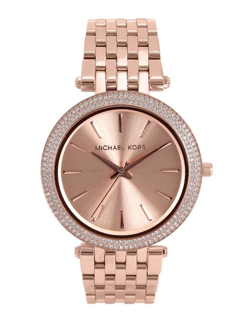 Michael Kors Women Rose Gold-Toned Dial Watch MK3192I