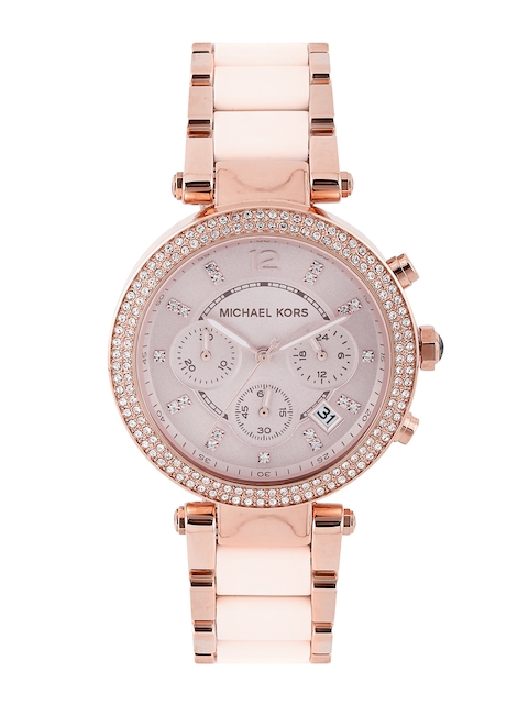 Michael Kors Women Chronograph Dusty Pink Stone-Studded Dial Watch 5896I
