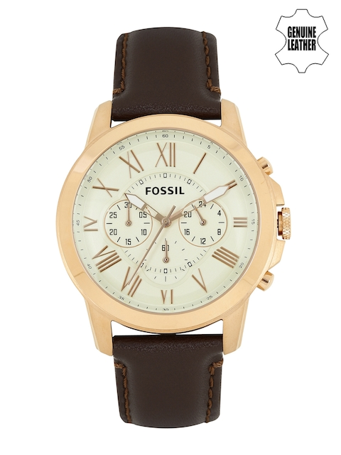 Fossil Men Off-White Dial Chronograph Watch FS4991