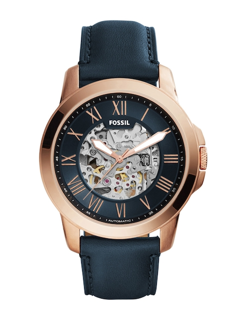 Fossil Men Navy Skeleton Dial Automatic Watch ME3102
