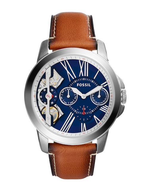 Fossil Men Blue Multifunction Skeleton Dial Watch ME1161