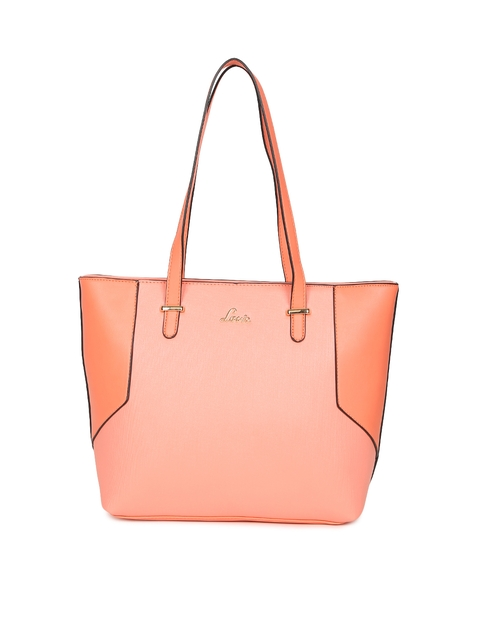 Lavie Peach-Coloured & Orange Colourblocked Shoulder Bag