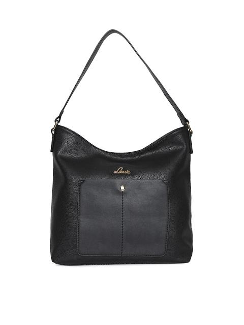 Lavie Black Solid Hobo Bag