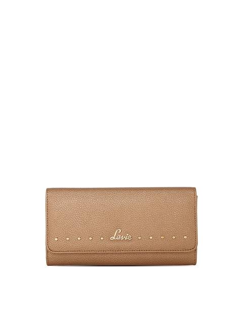 Lavie Women Beige Textured Two Fold Wallet
