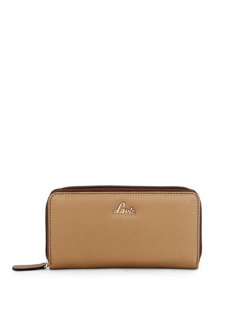 Lavie Women Brown Solid Zip Around Wallet