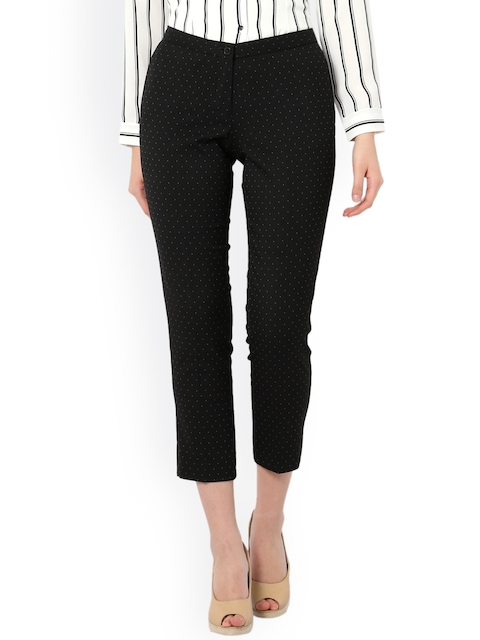 Van Heusen Woman Black Regular Fit Printed Chinos