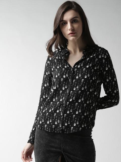 FOREVER 21 Women Black & White Regular Fit Printed Casual Shirt