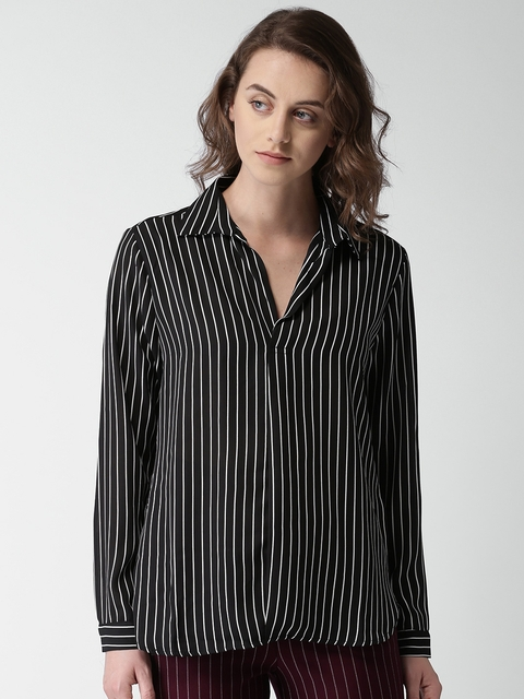 FOREVER 21 Women Black & White Regular Fit Striped Casual Shirt
