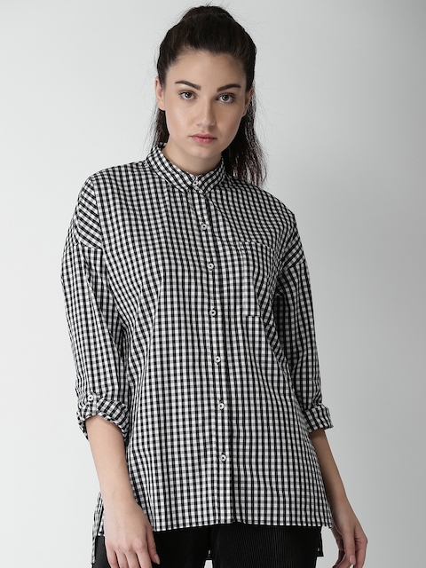 FOREVER 21 Women Black & White Regular Fit Checked Casual Shirt