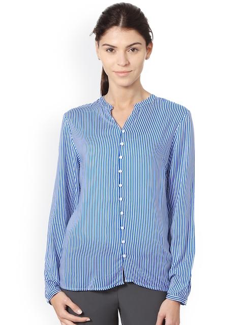 Allen Solly Woman Women Blue & White Regular Fit Striped Casual Shirt