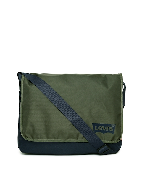 Levis Men Navy & Olive Green Colourblocked Messenger Bag
