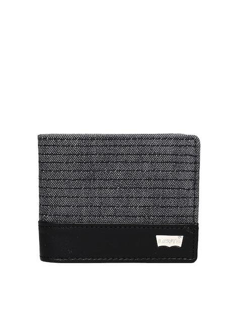 Levis Men Black Striped Two Fold Leather Wallet