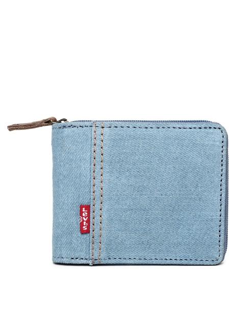 Levis Men Blue Solid Zip Around Wallet