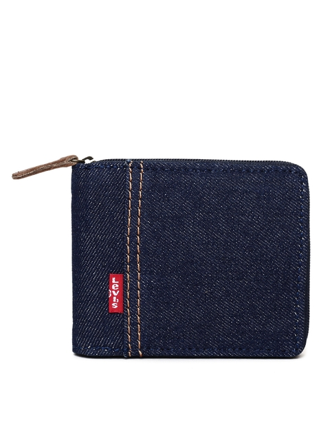 Levis Men Blue Solid Zip Around Wallet