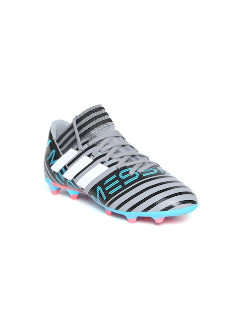 Adidas Boys Grey & Black NEMEZIZ Messi 17.3 FG Striped Football Shoes