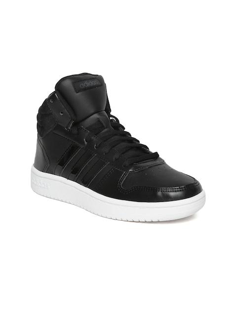 Adidas Women Black Hoops 2.0 Mid Basketball Shoes