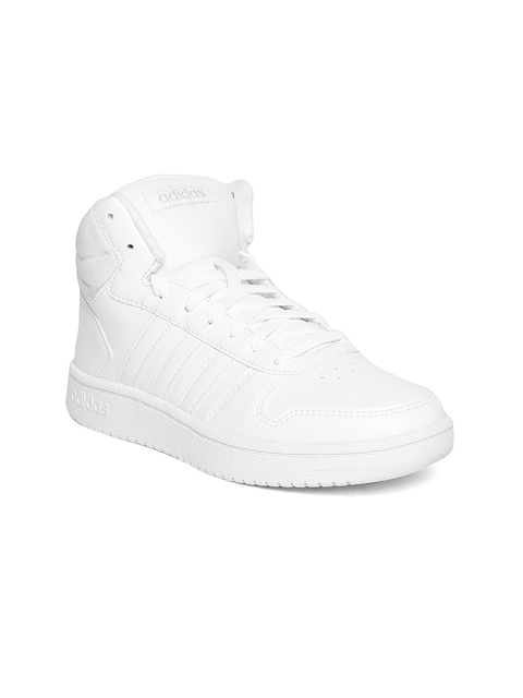 Adidas Women White Hoops 2.0 Mid Basketball Shoes