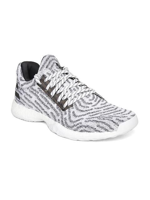 ADIDAS Men White & Black Harden Vol. 1 LS Prime Knit Basketball Shoes