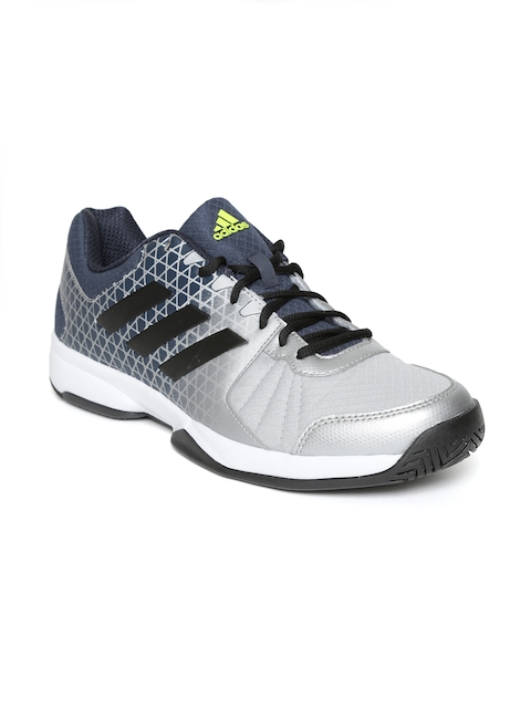 Adidas Men Silver-Toned & Navy Net Nuts Printed Tennis Shoes