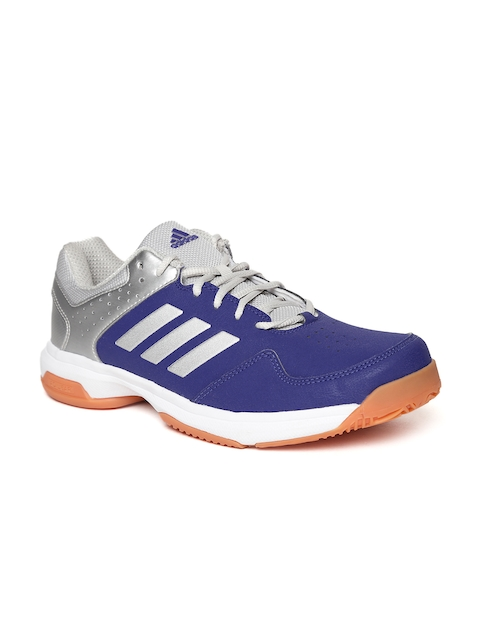 Adidas Men Blue & Silver-Toned Quick Force IND Badminton Shoes