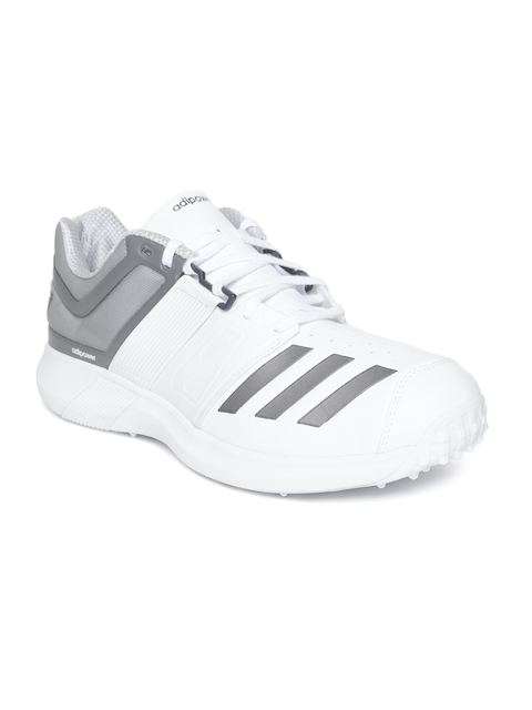 Adidas Men White & Grey Adipower Vector Cricket Shoes