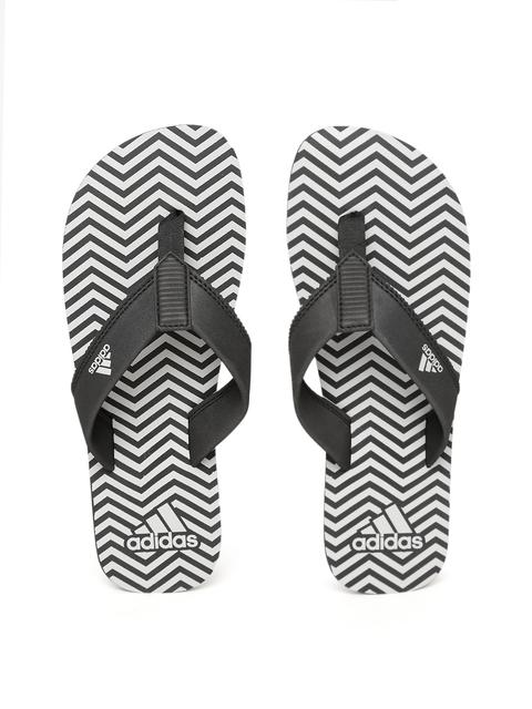 Adidas Men Black & Grey INERT Printed Thong Flip-Flops