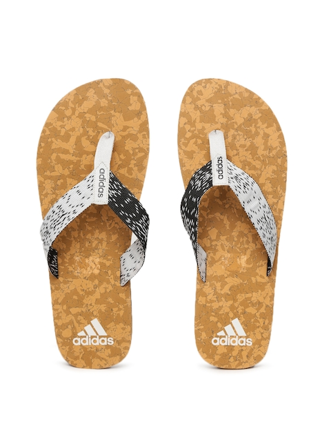 Adidas Men Grey & Brown Beach Cork Patterned Thong Flip-Flops