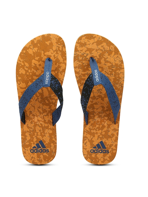 ADIDAS Men Blue & Black Beach Cork Self-Design Thong Flip-Flops