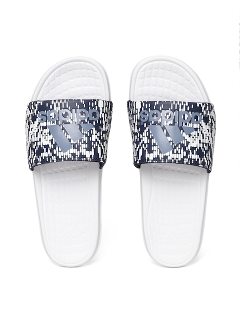 Adidas Men Navy Blue & White Voloomix GR Printed Sliders