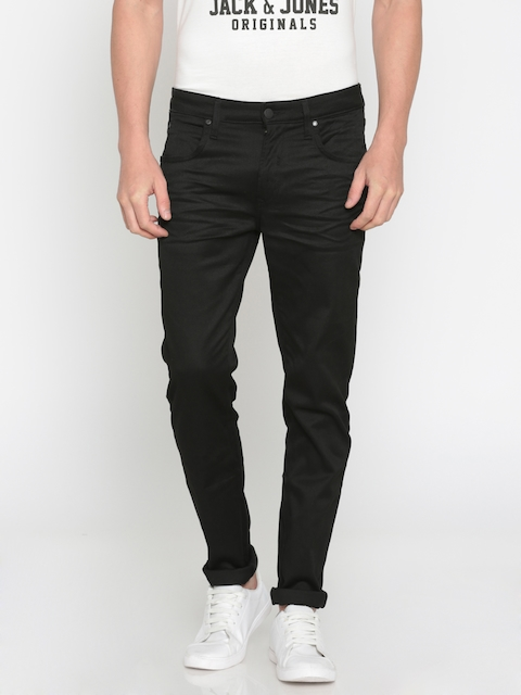 Jack & Jones Men Black Ben Skinny Fit Low-Rise Clean Look Stretchable Jeans