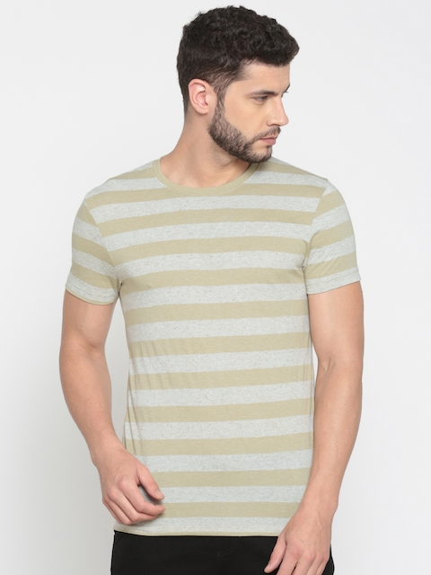 Jack & Jones Men Beige Slim Fit Striped Round Neck T-shirt