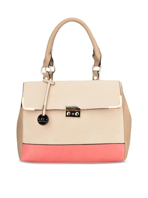 Diana Korr Beige and Pink Solid Handheld Bag