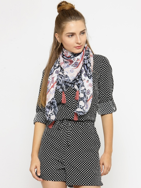 J Style Women Blue & Off-White Printed Scarf