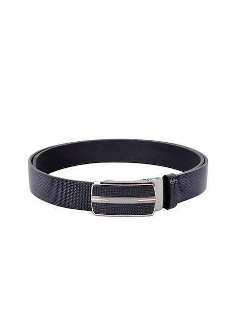 BuckleUp Men Black Solid Leather Belt