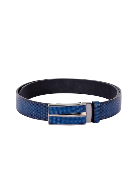 BuckleUp Men Blue Solid Leather Belt