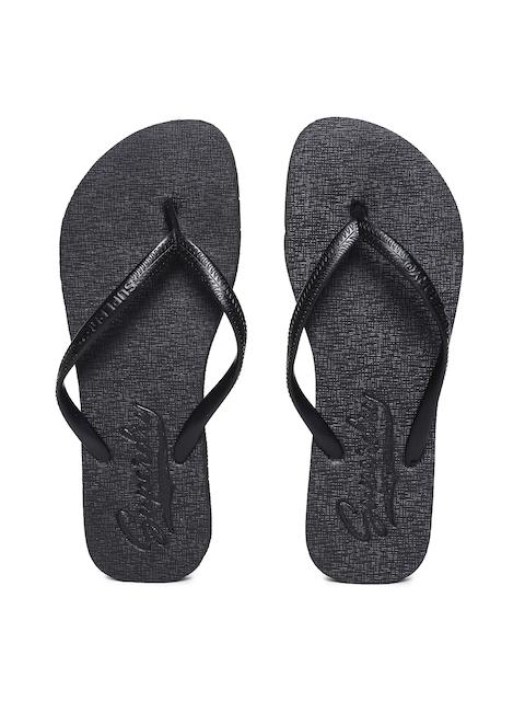 Superdry Women Black Super Sleek Thong Flip-Flops