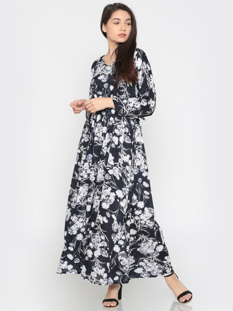 The Kaftan Company Navy Printed Cover-Up Dress DR_VS_DAYDRS014
