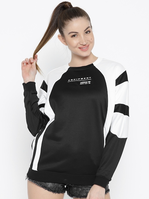 Adidas Originals Women Black & White Equipment OG Colourblocked Sweatshirt