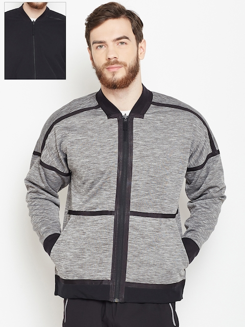 Adidas Grey Melange & Black ZNE Reversible Sporty Jacket