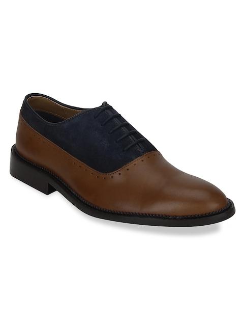 Park Avenue Men Brown & Blue Formal Leather Oxfords
