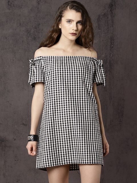 Roadster Women Black & White Checked Off-Shoulder A-Line Dress