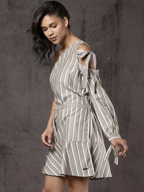 Roadster Women Beige Striped A-Line One-shoulder Dress