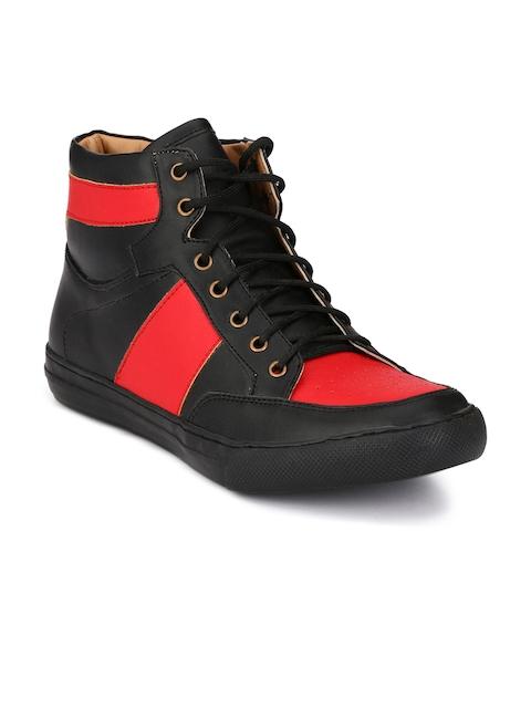 Guava Men Black & Red Flat Boots