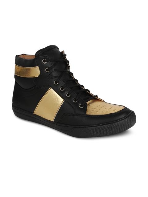 Guava Men Black & Gold Solid Flat Boots